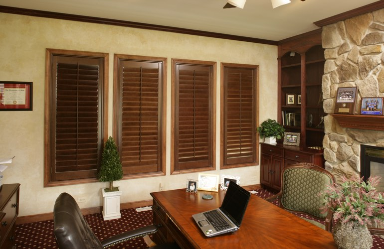 Hardwood plantation shutters in a Cleveland home office