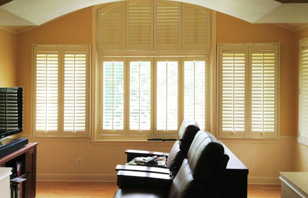 Cleveland plantation shutters in tv room