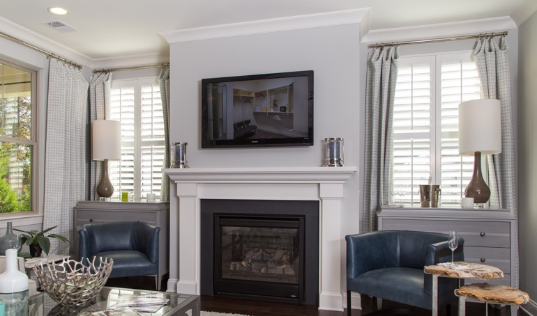 Cleveland mantle with plantation shutters.