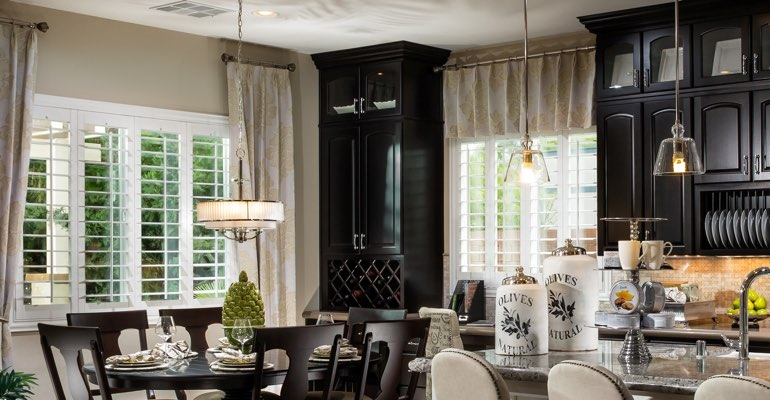 Cleveland kitchen dining room with plantation shutters.