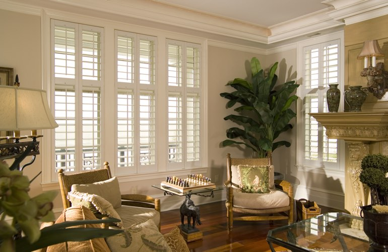Living Room in Cleveland with interior plantation shutters.