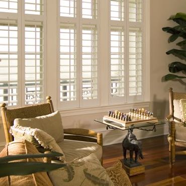 Cleveland living room interior shutters.
