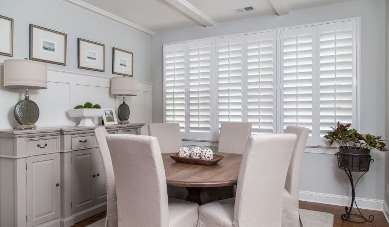 Plantation shutters in a Cleveland dining room.