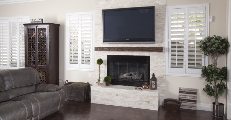 interior shutters in Cleveland living room