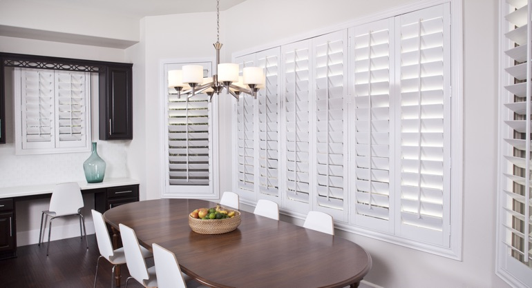 white shutters in Cleveland dining room