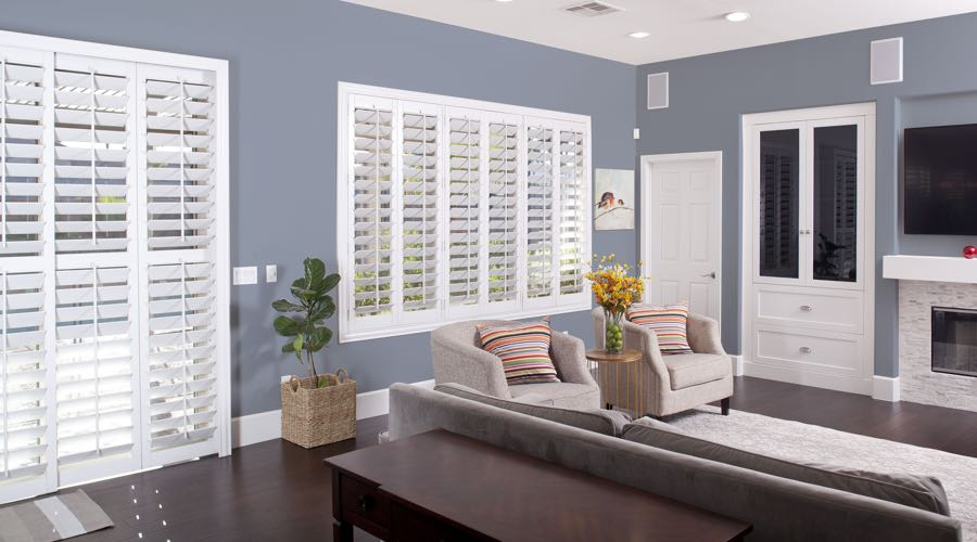 Faux Wood Shutters In pretty Cleveland Living Room