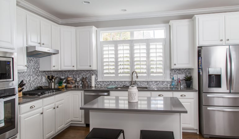 Polywood shutters in a Cleveland gourmet kitchen.