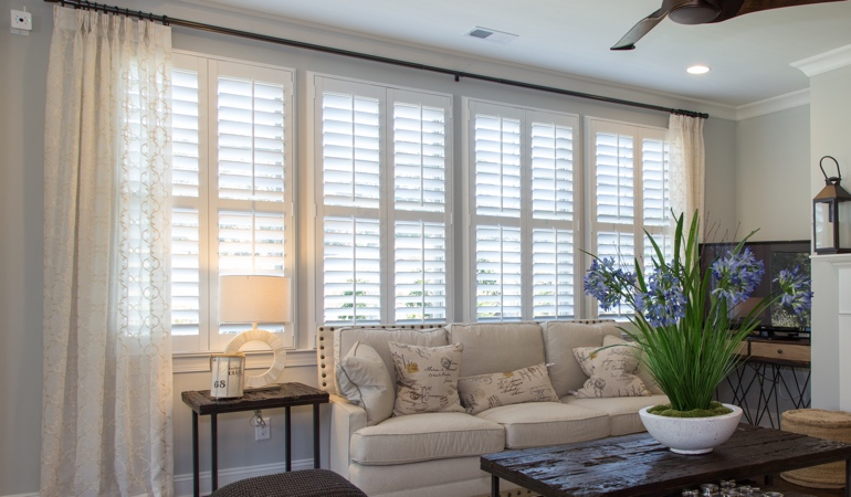 Plantation Shutters in Cleveland Living Room