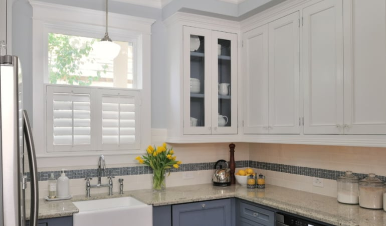 Polywood shutters in a Cleveland kitchen.