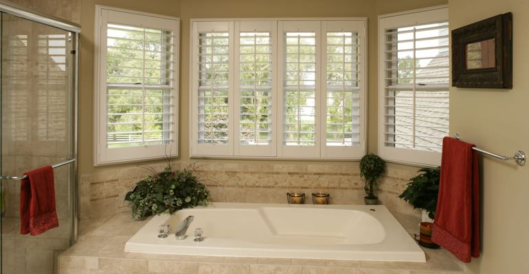 Plantation shutters in Cleveland bathroom.