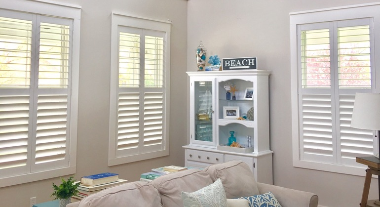 faux wood shutters in Cleveland living room
