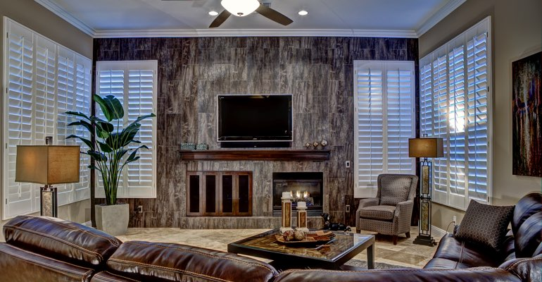 Cleveland living room with shutters
