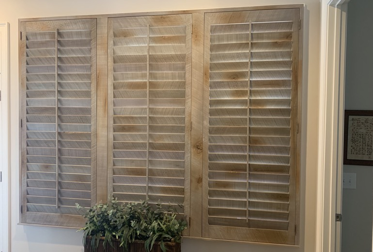 Closed reclaimed wood shutters in Cleveland