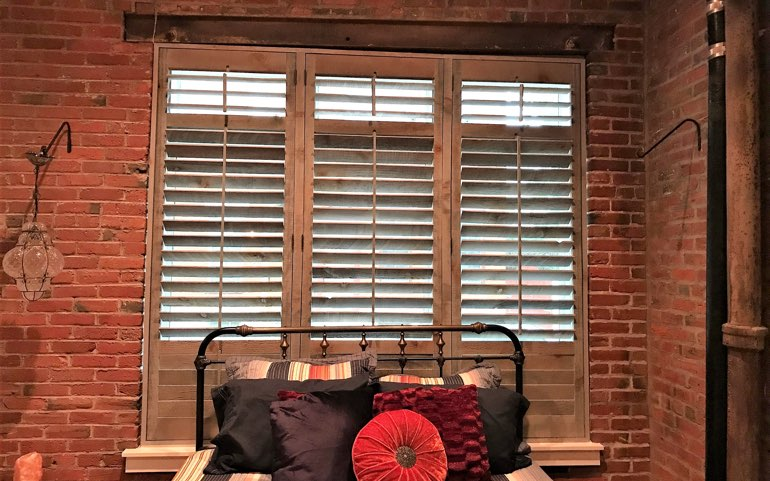 reclaimed wood shutters in Cleveland bedroom