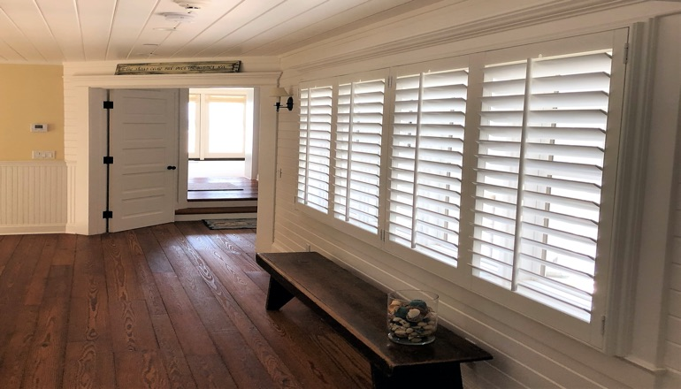 Faux wood plantation shutters in Cleveland