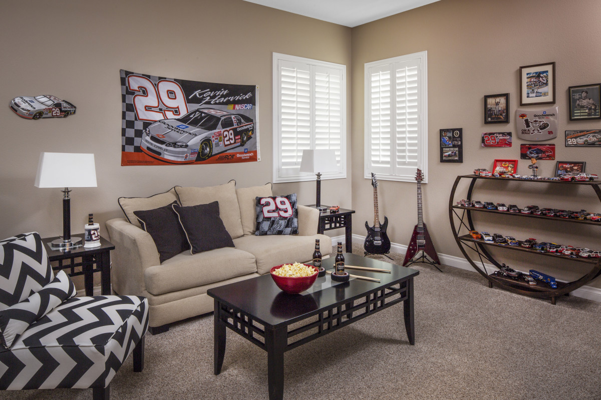 Cleveland man cave with shutters