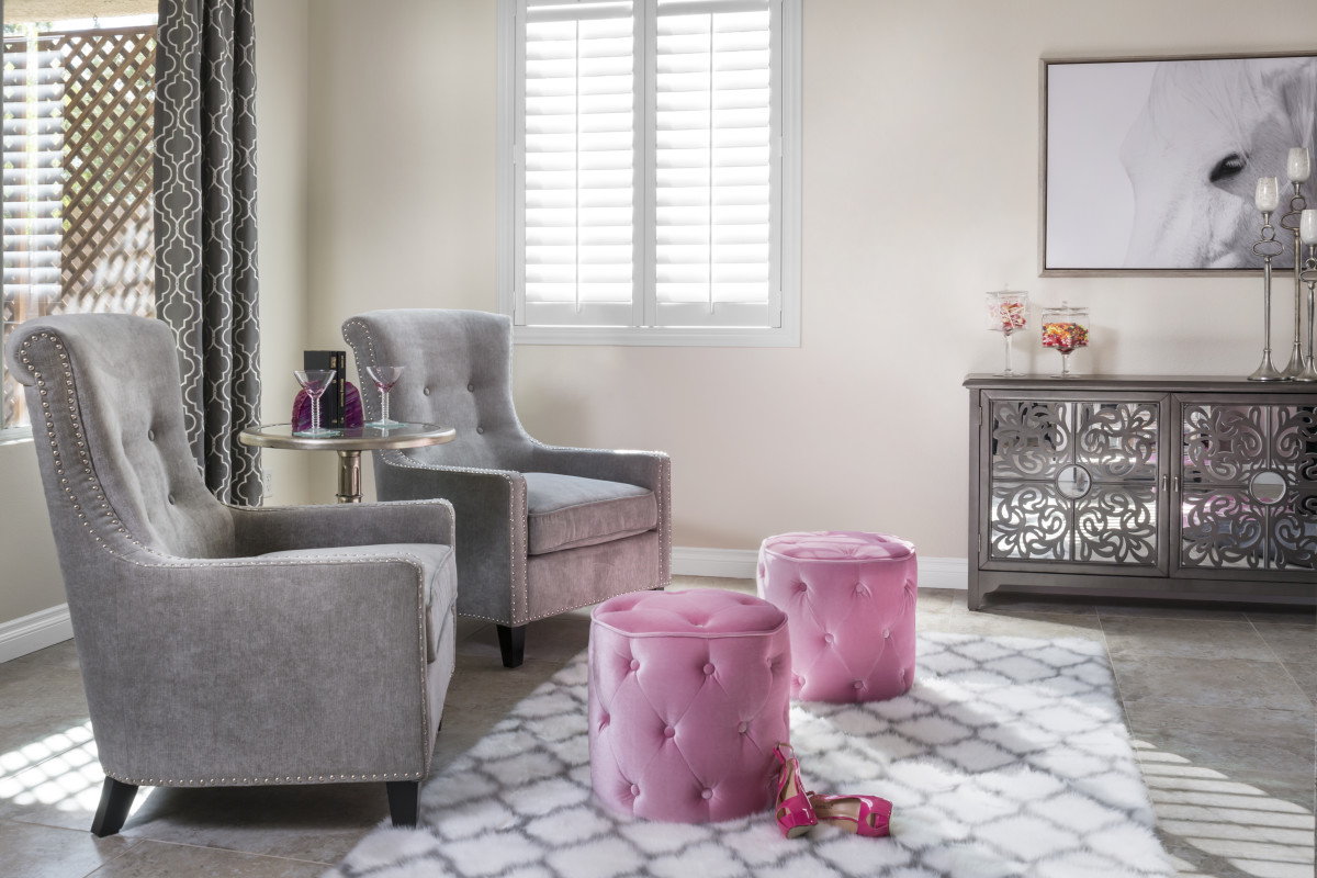 Cleveland pink living room with shutters