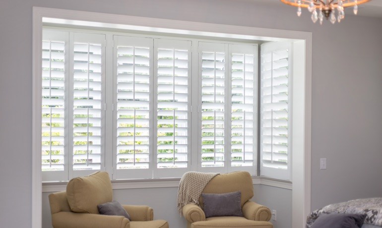 Plantation shutters in Cleveland bedroom