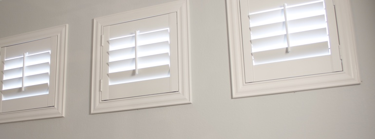 Square Windows in a Cleveland Garage with Plantation Shutters
