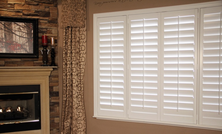 Cleveland Studio plantation shutters in family room.