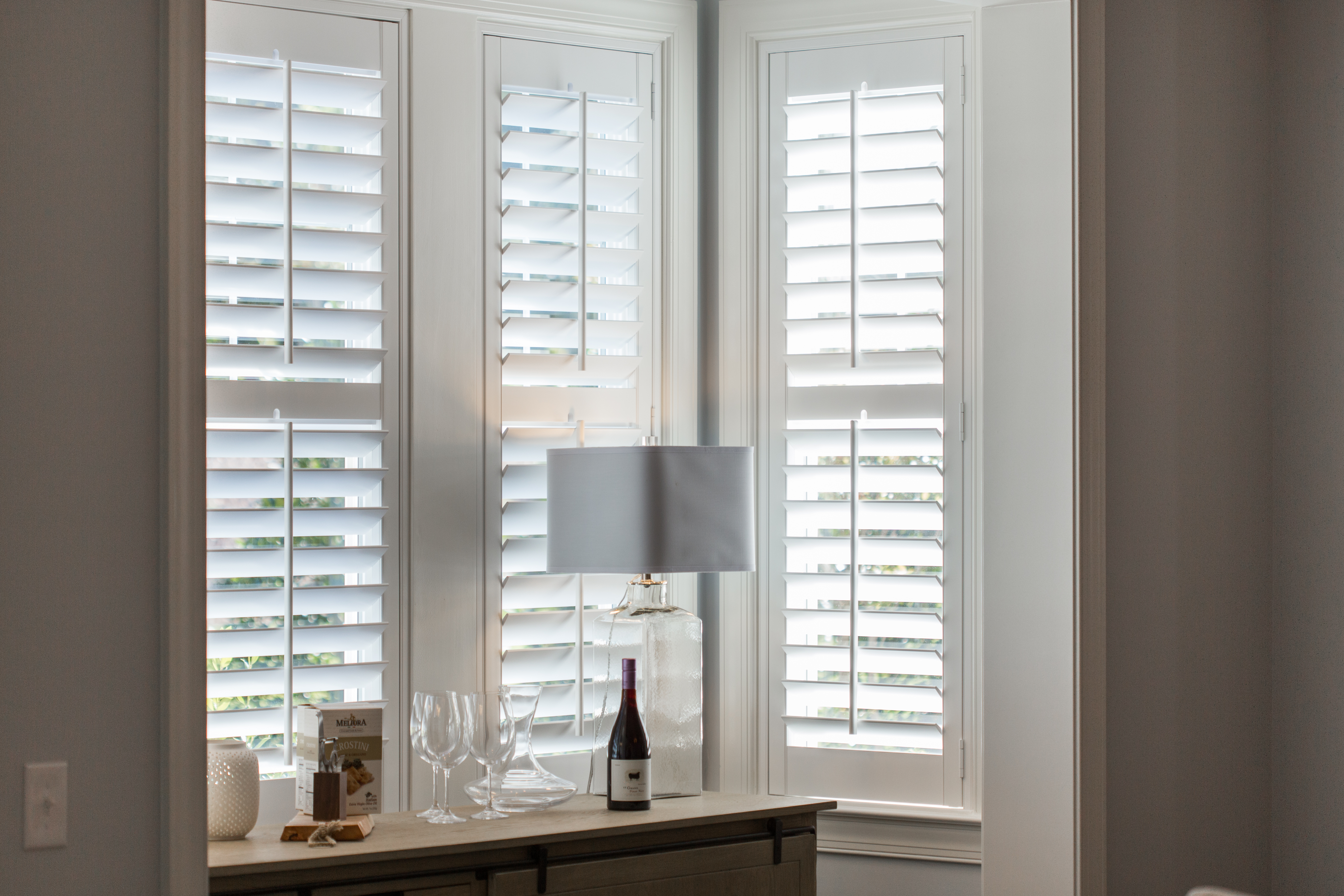 Plantation shutters in Cleveland alcove.