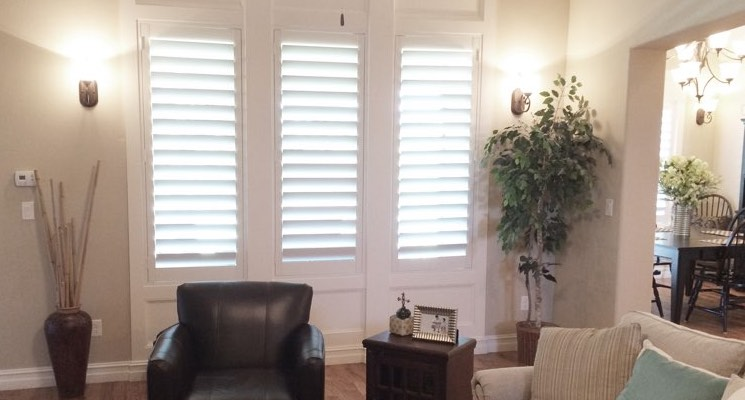 Cleveland living room white shutters