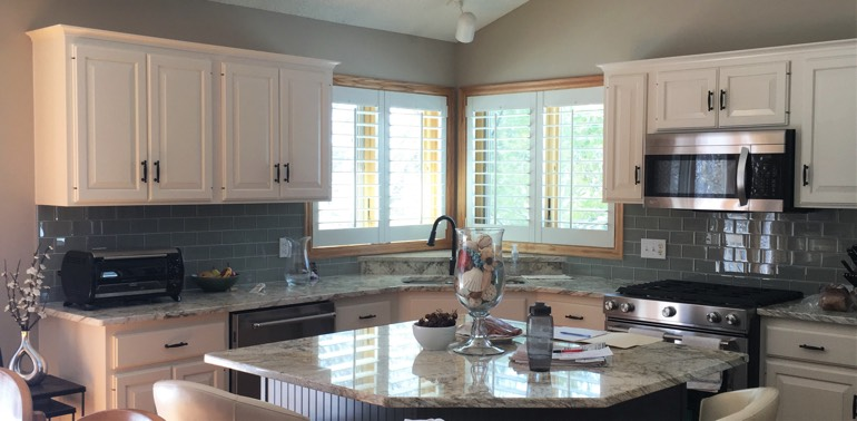 Cleveland kitchen with shutters and appliances