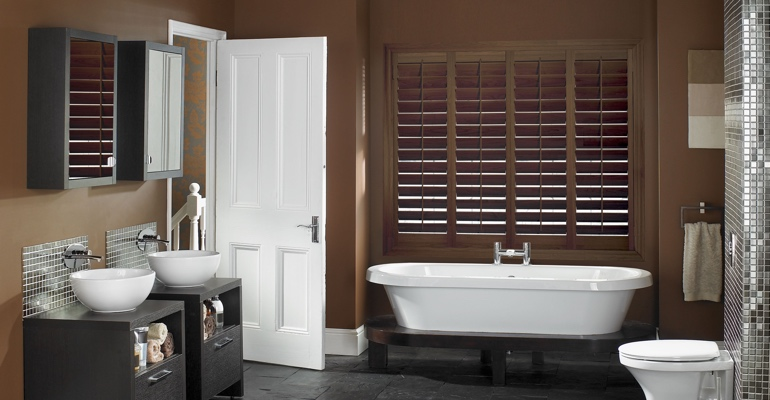 Cleveland bathroom shutters wood stain