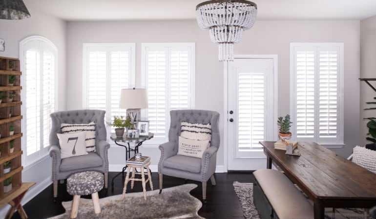 Plantation shutters in a Cleveland living room