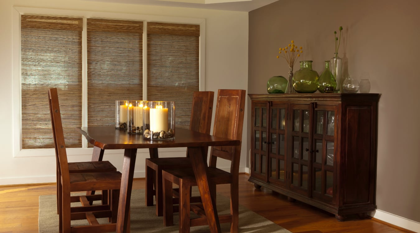 Woven shutters in a Cleveland dining room.