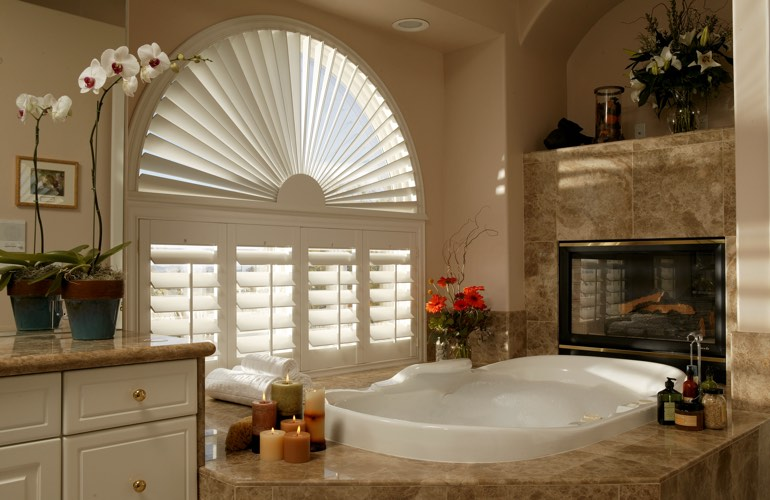 Our Specialists Installed Shutters On A Sunburst Arch Window In Cleveland, Ohio
