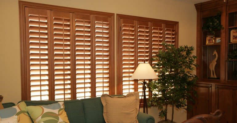 Hardwood shutters in Cleveland living room.