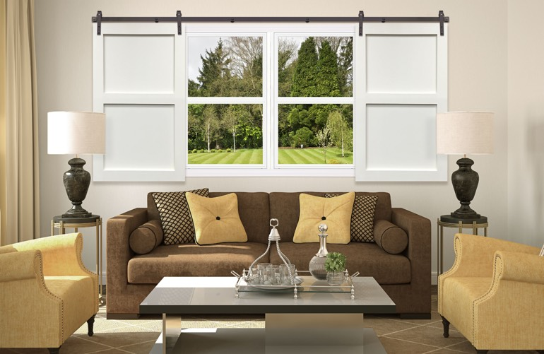 Newest Window Treatment Trends In Cleveland: Sliding Barn Door Shutters