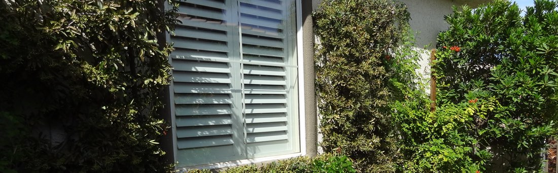 Garage Window with Plantation Shutters